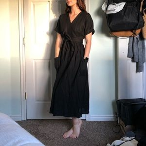 NWT Urban Outfitters Black Linen Wrap Dress